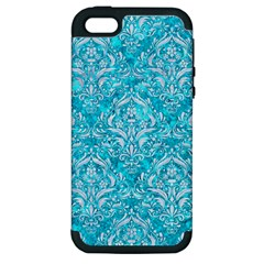 Damask1 White Marble & Turquoise Marble Apple Iphone 5 Hardshell Case (pc+silicone) by trendistuff