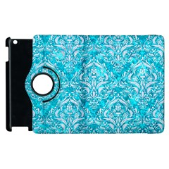 Damask1 White Marble & Turquoise Marble Apple Ipad 2 Flip 360 Case