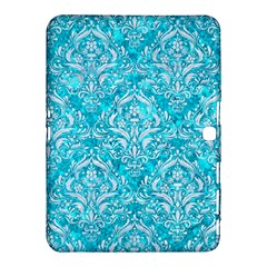 Damask1 White Marble & Turquoise Marble Samsung Galaxy Tab 4 (10 1 ) Hardshell Case  by trendistuff