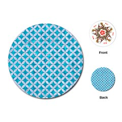 Circles3 White Marble & Turquoise Marble Playing Cards (round)  by trendistuff