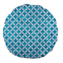 Circles3 White Marble & Turquoise Marble Large 18  Premium Round Cushions by trendistuff