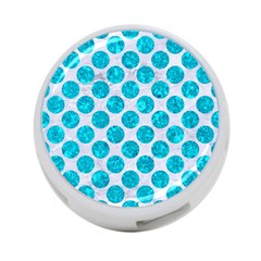Circles2 White Marble & Turquoise Marble (r) 4 Port Usb Hub (one Side) by trendistuff
