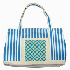 Circles2 White Marble & Turquoise Marble Striped Blue Tote Bag by trendistuff