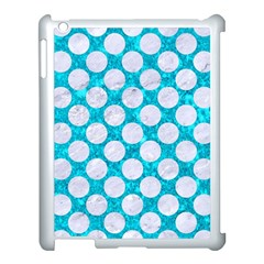 Circles2 White Marble & Turquoise Marble Apple Ipad 3/4 Case (white) by trendistuff