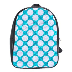 Circles2 White Marble & Turquoise Marble School Bag (xl) by trendistuff