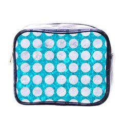 Circles1 White Marble & Turquoise Marble Mini Toiletries Bags by trendistuff