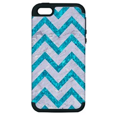 Chevron9 White Marble & Turquoise Marble (r) Apple Iphone 5 Hardshell Case (pc+silicone) by trendistuff