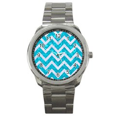 Chevron9 White Marble & Turquoise Marble Sport Metal Watch by trendistuff