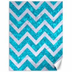 Chevron9 White Marble & Turquoise Marble Canvas 12  X 16   by trendistuff