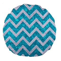 Chevron9 White Marble & Turquoise Marble Large 18  Premium Flano Round Cushions by trendistuff