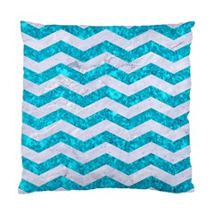 Chevron3 White Marble & Turquoise Marble Standard Cushion Case (two Sides) by trendistuff