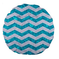 Chevron3 White Marble & Turquoise Marble Large 18  Premium Round Cushions by trendistuff