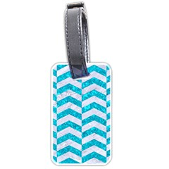 Chevron2 White Marble & Turquoise Marble Luggage Tags (one Side)  by trendistuff
