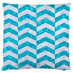 Chevron2 White Marble & Turquoise Marble Large Cushion Case (two Sides) by trendistuff