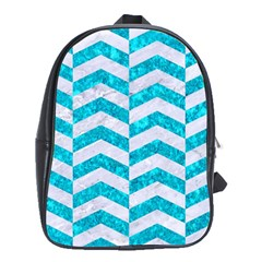 Chevron2 White Marble & Turquoise Marble School Bag (xl) by trendistuff