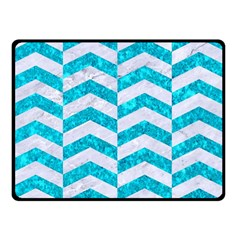 Chevron2 White Marble & Turquoise Marble Double Sided Fleece Blanket (small)  by trendistuff