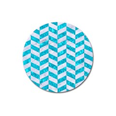 Chevron1 White Marble & Turquoise Marble Magnet 3  (round) by trendistuff