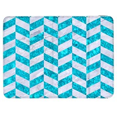 Chevron1 White Marble & Turquoise Marble Samsung Galaxy Tab 7  P1000 Flip Case by trendistuff