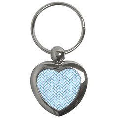 Brick2 White Marble & Turquoise Marble (r) Key Chains (heart)  by trendistuff