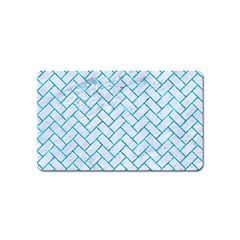 Brick2 White Marble & Turquoise Marble (r) Magnet (name Card) by trendistuff