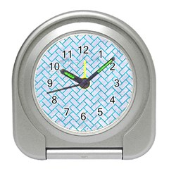Brick2 White Marble & Turquoise Marble (r) Travel Alarm Clocks by trendistuff