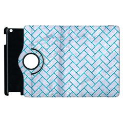 Brick2 White Marble & Turquoise Marble (r) Apple Ipad 3/4 Flip 360 Case by trendistuff