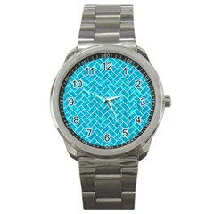 Brick2 White Marble & Turquoise Marble Sport Metal Watch by trendistuff