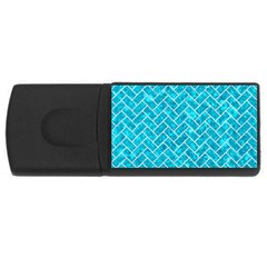 Brick2 White Marble & Turquoise Marble Rectangular Usb Flash Drive by trendistuff