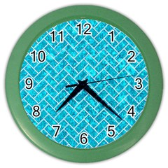 Brick2 White Marble & Turquoise Marble Color Wall Clocks by trendistuff