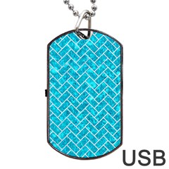 Brick2 White Marble & Turquoise Marble Dog Tag Usb Flash (one Side) by trendistuff