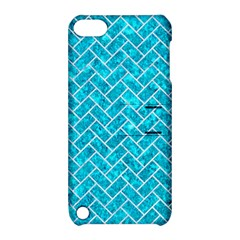 Brick2 White Marble & Turquoise Marble Apple Ipod Touch 5 Hardshell Case With Stand by trendistuff