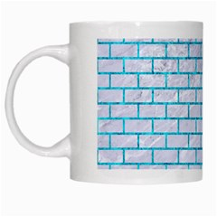 Brick1 White Marble & Turquoise Marble (r) White Mugs by trendistuff