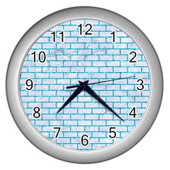 Brick1 White Marble & Turquoise Marble (r) Wall Clocks (silver)  by trendistuff