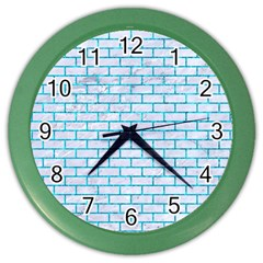 Brick1 White Marble & Turquoise Marble (r) Color Wall Clocks by trendistuff