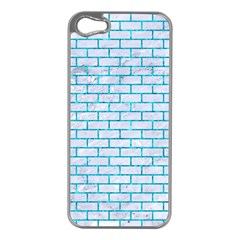 Brick1 White Marble & Turquoise Marble (r) Apple Iphone 5 Case (silver) by trendistuff