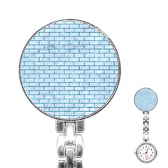 Brick1 White Marble & Turquoise Marble (r) Stainless Steel Nurses Watch by trendistuff