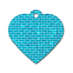 Brick1 White Marble & Turquoise Marble Dog Tag Heart (two Sides) by trendistuff