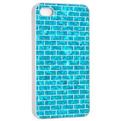 Brick1 White Marble & Turquoise Marble Apple Iphone 4/4s Seamless Case (white) by trendistuff