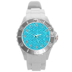 Brick1 White Marble & Turquoise Marble Round Plastic Sport Watch (l) by trendistuff
