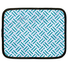 Woven2 White Marble & Turquoise Glitter (r) Netbook Case (xl)  by trendistuff