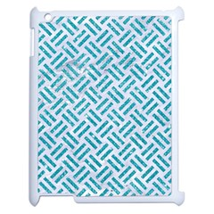 Woven2 White Marble & Turquoise Glitter (r) Apple Ipad 2 Case (white) by trendistuff