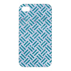 Woven2 White Marble & Turquoise Glitter (r) Apple Iphone 4/4s Hardshell Case by trendistuff