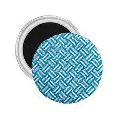 Woven2 White Marble & Turquoise Glitter 2 25  Magnets by trendistuff
