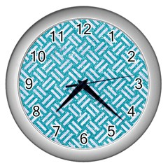 Woven2 White Marble & Turquoise Glitter Wall Clocks (silver)  by trendistuff