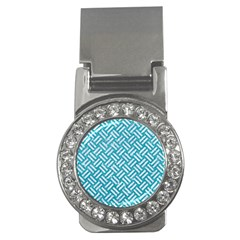Woven2 White Marble & Turquoise Glitter Money Clips (cz)  by trendistuff