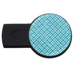 Woven2 White Marble & Turquoise Glitter Usb Flash Drive Round (4 Gb) by trendistuff
