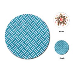 Woven2 White Marble & Turquoise Glitter Playing Cards (round)  by trendistuff