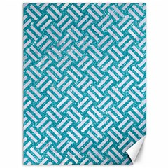 Woven2 White Marble & Turquoise Glitter Canvas 36  X 48   by trendistuff