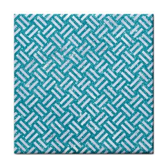 Woven2 White Marble & Turquoise Glitter Face Towel by trendistuff