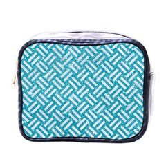 Woven2 White Marble & Turquoise Glitter Mini Toiletries Bags by trendistuff